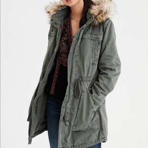AE Parka Olive Green Utility Jacket Faux Fur Hood
